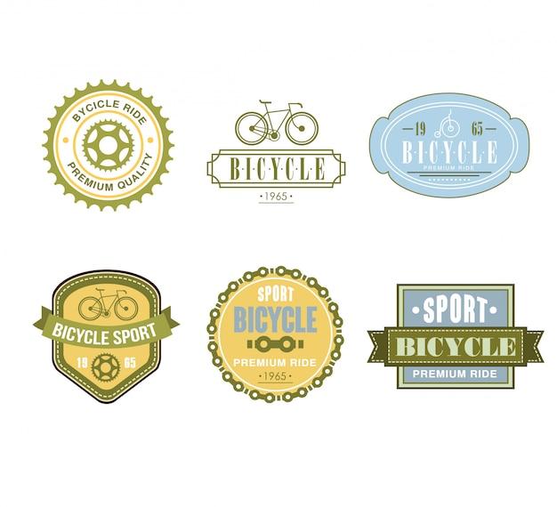 Conjunto de design de etiqueta com tema de bicicleta tipográfica - bike shop