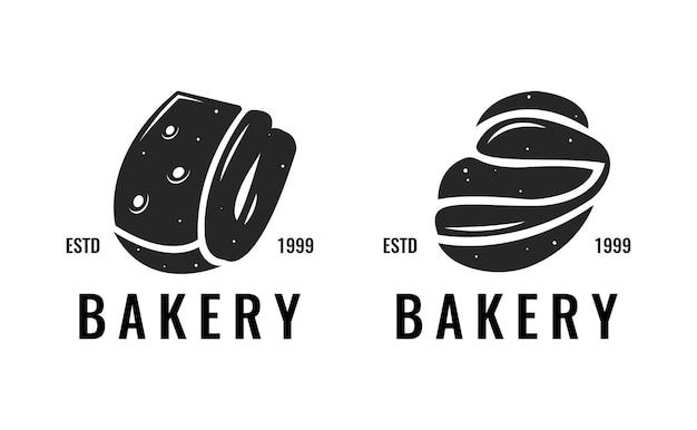 Conjunto de design de etiqueta de logotipo de padaria com silhueta de pão