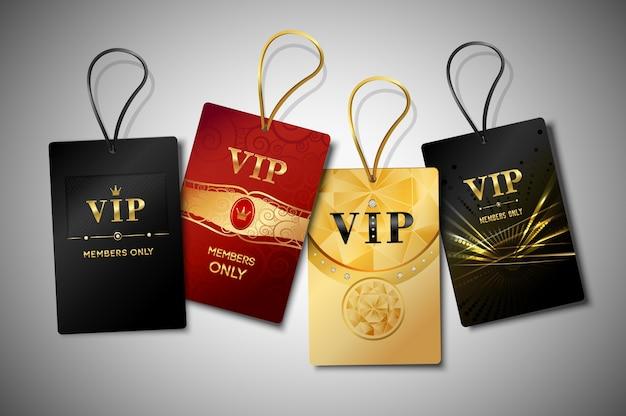 Conjunto de design de etiquetas vip