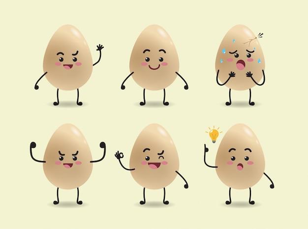 Conjunto de design de expressão de ovos fofos