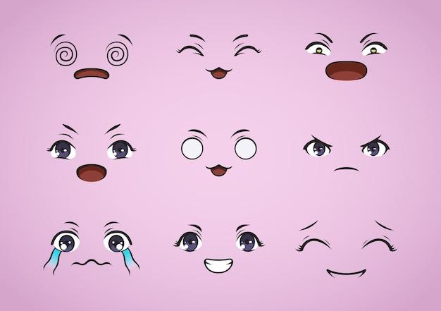 Conjunto de design de expressão kawaii. ilustração emoji de anime