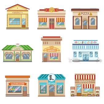 Conjunto de design de fachada de edifícios comerciais de adesivos