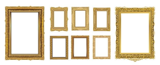 Conjunto de design de foto do convite royal golden frame