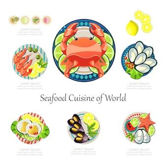 Conjunto de design de frutos do mar. ideia de frutos do mar infográfico negócios alimentares