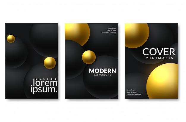 Conjunto de design de fundo elegante. gradientes de cor, dourados, cartão, fundo, capa, vetor eps10. textura preta e dourada