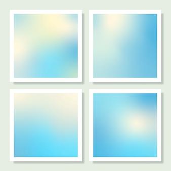 Conjunto de design de fundo gradiente holográfico azul