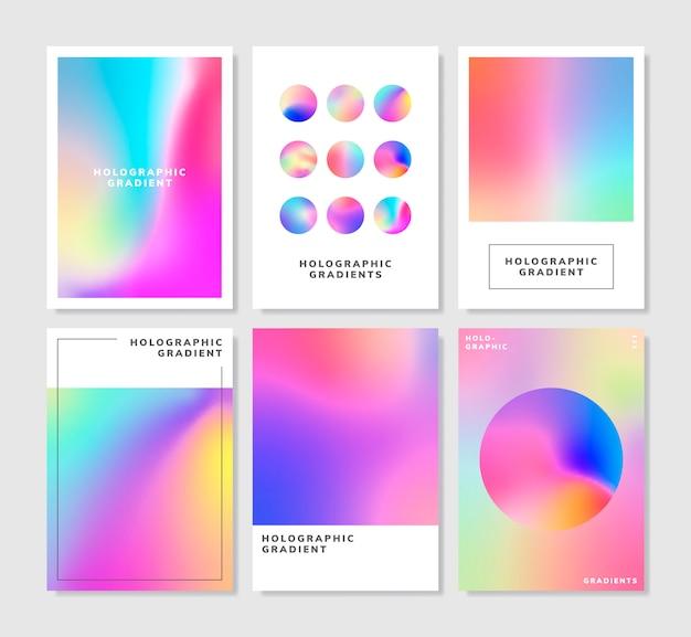 Conjunto de design de fundo gradiente holográfico colorido