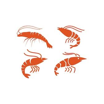 Conjunto de design de ícone de camarão modelo de ícone de frutos do mar isolado