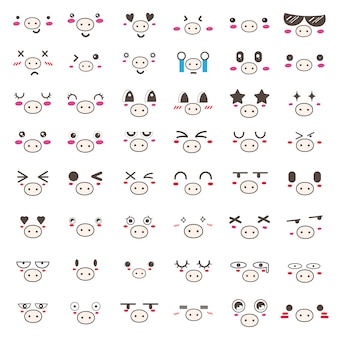 Conjunto de design de ícone de cara de porco kawaii.