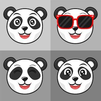 Conjunto de design de ícone de ilustração de desenho animado de panda bonito