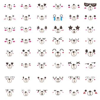 Conjunto de design de ícone de rosto de urso kawaii.