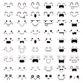 Conjunto de design de ícone de rosto kawaii.