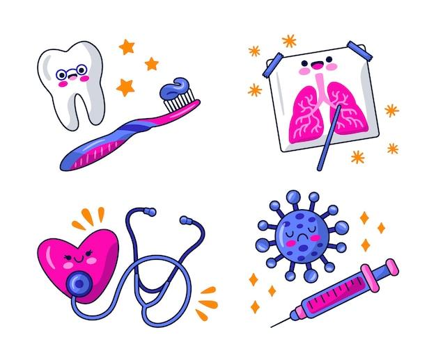 Conjunto de design de ilustração de adesivos médicos