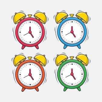 Conjunto de design de ilustração de despertador