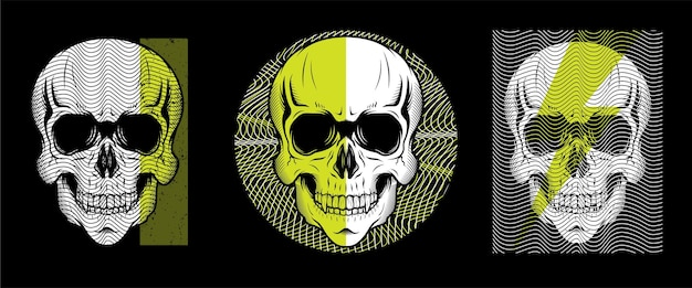 Conjunto de design de ilustração de estilo de linha de cabeça de crânio