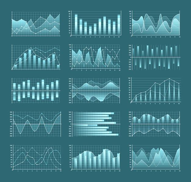 Conjunto de design de ilustração de gráficos e tabelas