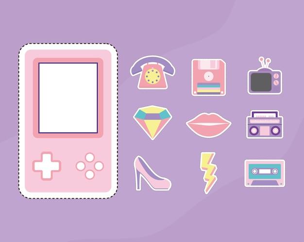Conjunto de design de ilustração de patches dos anos 80 e 90