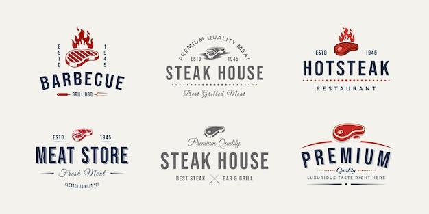Conjunto de design de ilustração em vetor logotipo loja de carne de açougue vintage