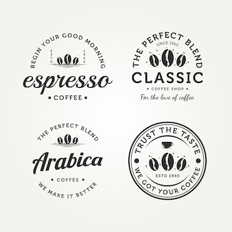 Conjunto de design de ilustração em vetor logotipo vintage retrô café distintivo