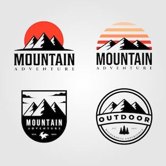 Conjunto de design de ilustração vintage de logotipo ao ar livre montanha