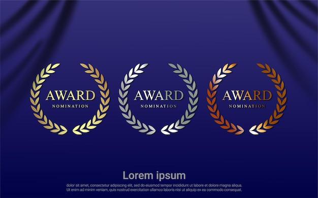 Conjunto de design de indicação ao prêmio
