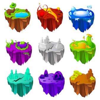 Conjunto de design de jogo de ilhas