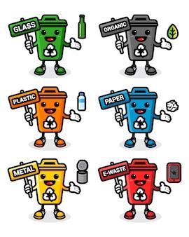 Conjunto de design de lata de lixo