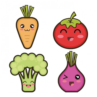 Conjunto de design de legumes dos desenhos animados