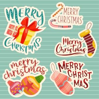 Conjunto de design de letras de feliz natal.