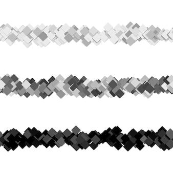 Conjunto de design de linha de separador de página de padrão quadrado aleatório repetível - elementos gráficos vetoriais de quadrados diagonais
