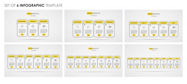 Conjunto de design de linha fina de infográfico com ícones e 3, 4, 5, 6, 7, 8 opções ou etapas. conceito de negócios.