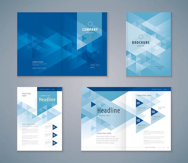 Conjunto de design de livro de capa, brochura de modelo de plano de fundo de triângulo