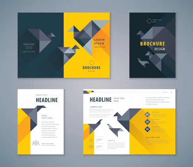 Conjunto de design de livro de capa, brochuras de modelo de plano de fundo de papel pássaro