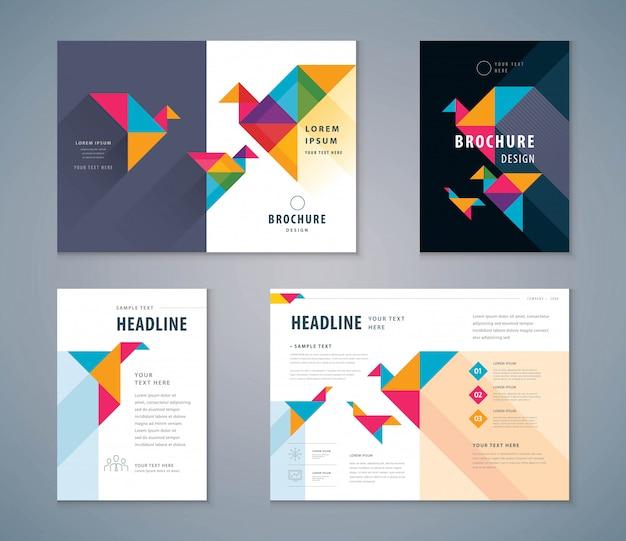 Conjunto de design de livro de capa, modelo de vetor de fundo de pássaro de papel brochuras