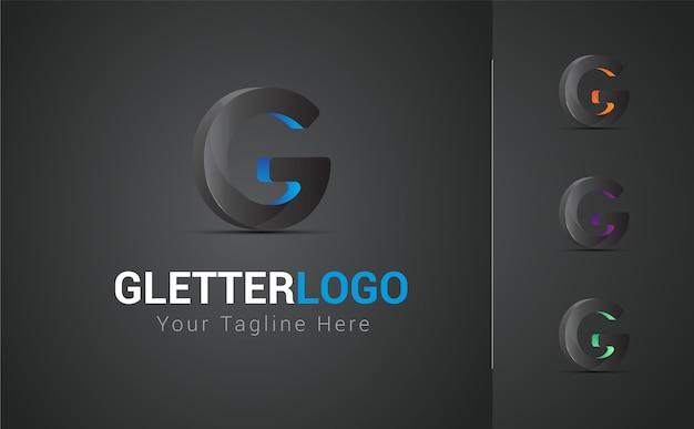 Conjunto de design de logotipo 3d letra g