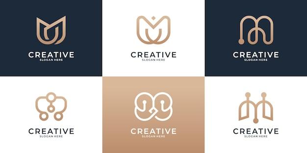 Conjunto de design de logotipo abstrato com letra m inicial do monograma Vetor Premium