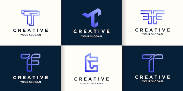 Conjunto de design de logotipo abstrato criativo letra t