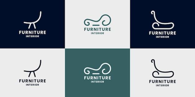 Conjunto de design de logotipo abstrato de cadeira para móveis domésticos