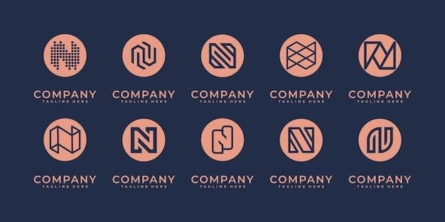 Conjunto de design de logotipo abstrato n.monogram inicial, ícones para negócios de luxo, elegante e aleatório.