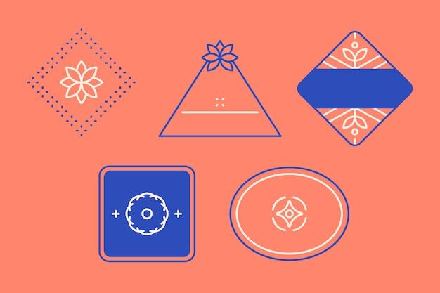 Conjunto de design de logotipo azul