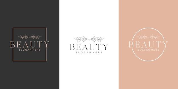 Conjunto de design de logotipo botânico de beleza de arte de linha de luxo feminino