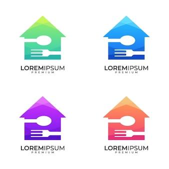 Conjunto de design de logotipo colorido de casa comida