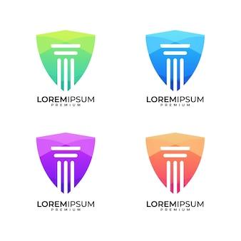 Conjunto de design de logotipo colorido de escudo de advocacia