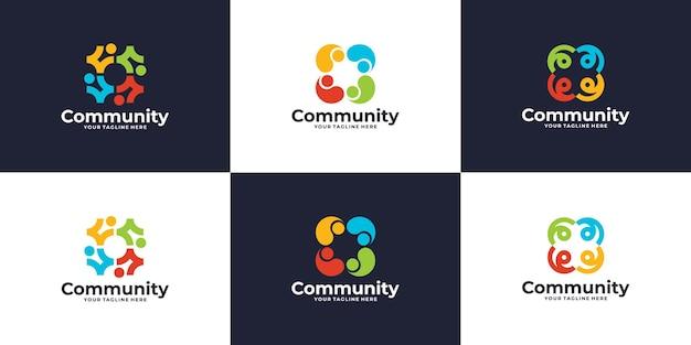 Conjunto de design de logotipo colorido de grupo social