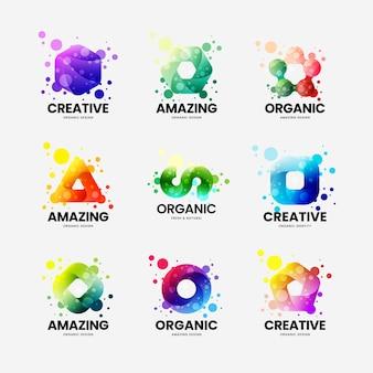 Conjunto de design de logotipo colorido de identidade corporativa abstrata isolado no branco