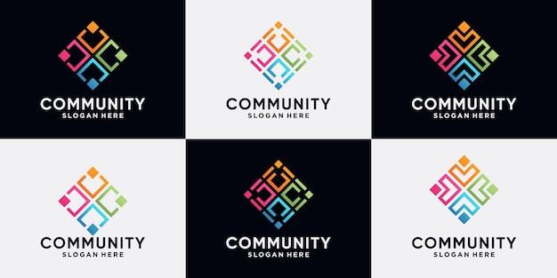 Conjunto de design de logotipo comunitário e humano para grupo social com estilo de arte de linha e conceito moderno