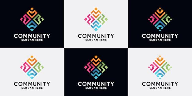 Conjunto de design de logotipo comunitário e humano para grupo social com estilo de arte de linha