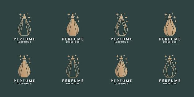 Conjunto de design de logotipo cosmético de perfume de luxo
