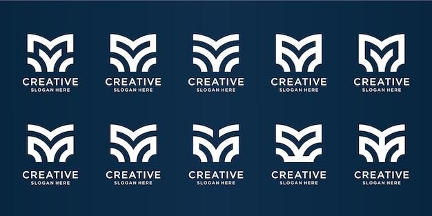 Conjunto de design de logotipo criativo com monograma m