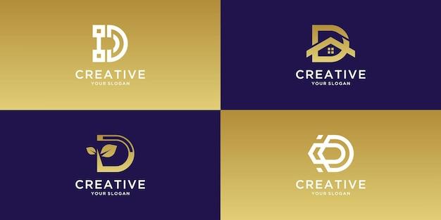 Conjunto de design de logotipo criativo da letra d do monograma